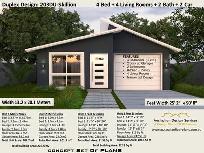Skillion-Roof-Duplex-Design-4-Bedroom-dual-Family-House-Plan-203DU-Skillion Skillion Roof Duplex Design- 4 Bedroom dual Family House Plan 203DU-Skillion  (2020)
